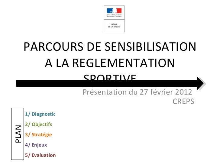 PARCOURS DE SENSIBILISATION          A LA REGLEMENTATION                 SPORTIVE                       Présentation du 27...