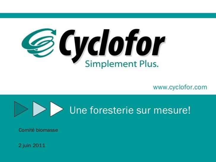 www.cyclofor.com Une foresterie sur mesure! Comité biomasse 2 juin 2011