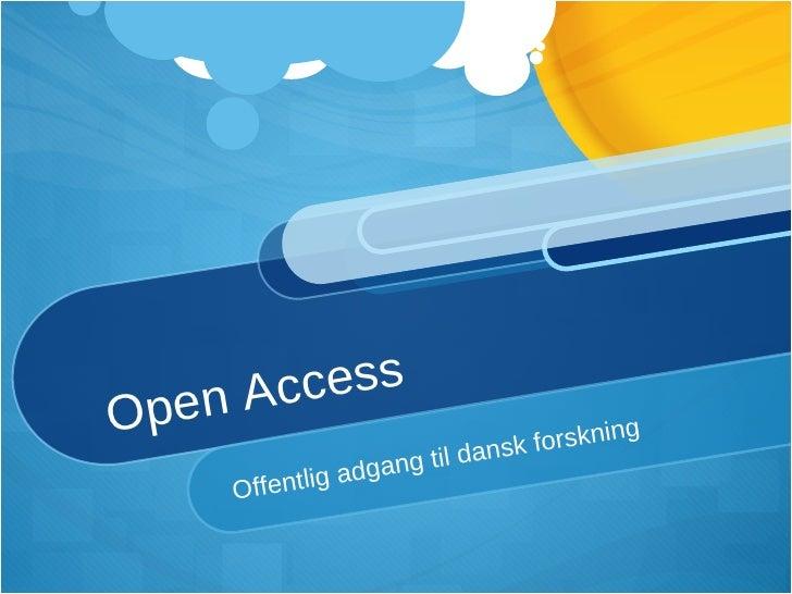 Præsentation af Open Access selvarkivering ved DFs Vinterinternat 2009