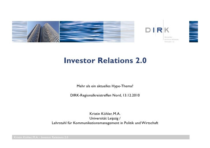 Investor Relations 2.0 / DIRK Regionalkreistreffen Nord, 13.12.10
