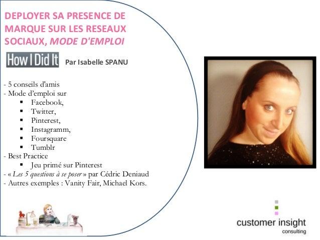 Déployer sa présence de marque sur les réseaux sociaux, par Isabelle spanu