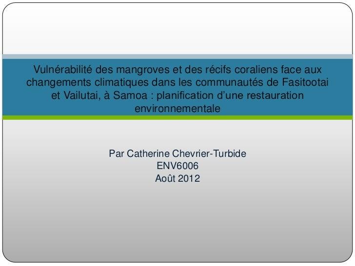 Vulnérabilité des mangroves et des récifs coraliens face auxchangements climatiques dans les communautés de Fasitootai    ...