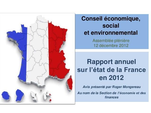 Conseil économique,          social   et environnemental         Assemblée plénière         12 décembre 2012   Rapport ann...