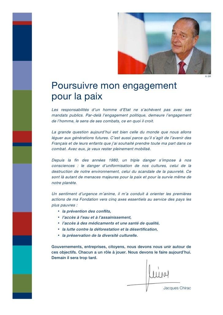 © DR    Poursuivre mon engagement pour la paix Les responsabilités d'un homme d'Etat ne s'achèvent pas avec ses mandats pu...