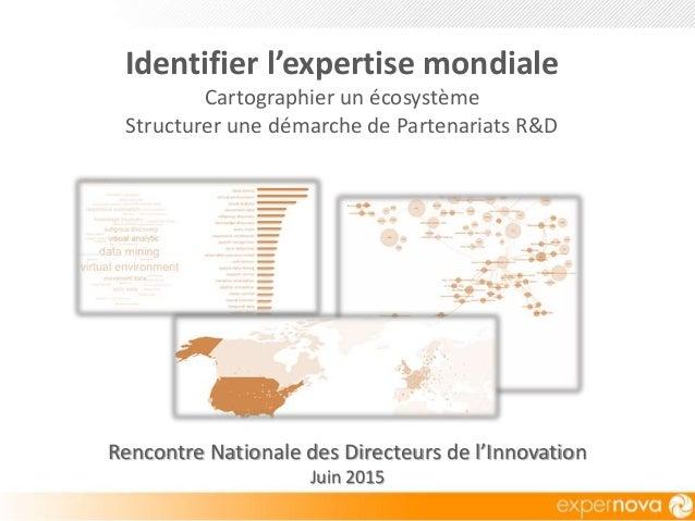 Rencontre Nationale des Directeurs de l'Innovation Juin 2015 Identifier l'expertise mondiale Cartographier un écosystème S...