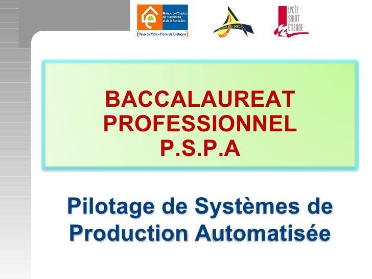 BACCALAUREAT   PROFESSIONNEL       P.S.P.APilotage de Systèmes deProduction Automatisée