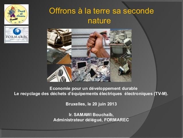 Economie pour un développement durable Le recyclage des déchets d'équipements électriques électroniques (TV-M). Bruxelles,...