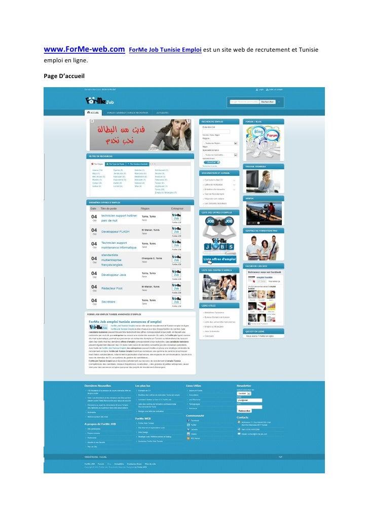 www.ForMe-web.com   ForMe Job Tunisie Emploi est un site web de recrutement et Tunisieemploi en ligne.Page D'accueil