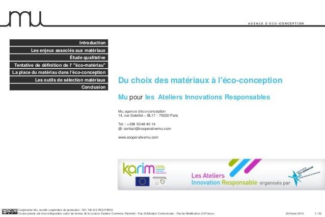 Workshop RI & Materials: Fx Ferrari - MU (French)