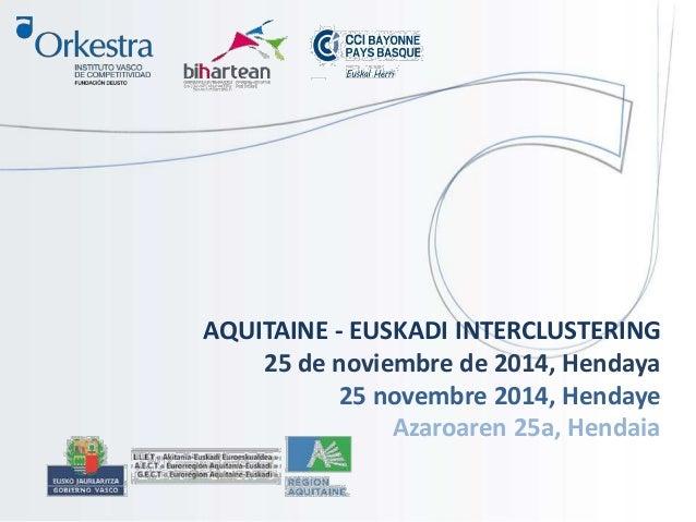 AQUITAINE - EUSKADI INTERCLUSTERING  25 de noviembre de 2014, Hendaya  25 novembre 2014, Hendaye  Azaroaren 25a, Hendaia