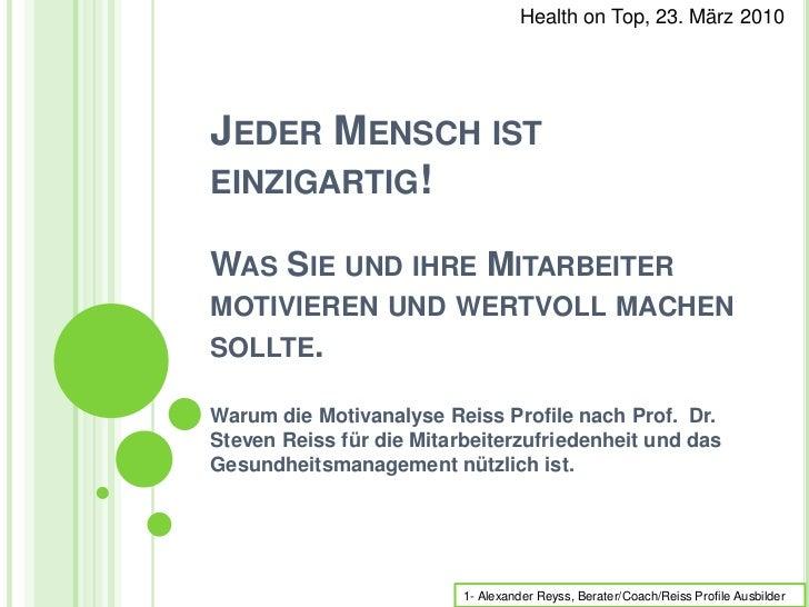 Reiss Profile und Gesundheitsmanagement, Health on Top Vortrag, Reyss