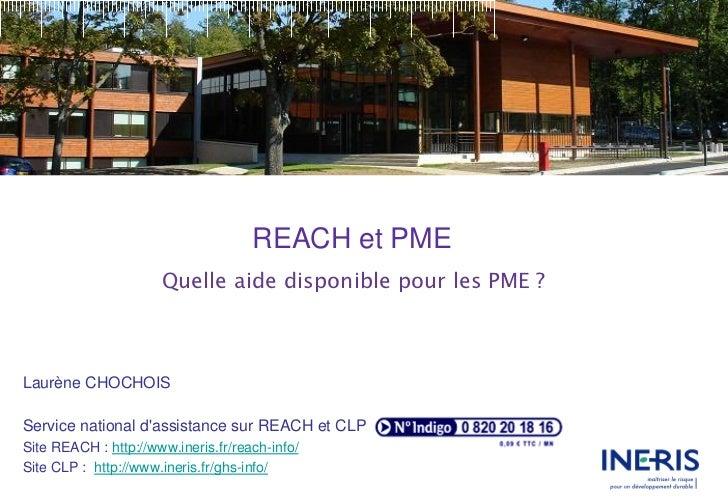 REACH et PME                      Quelle aide disponible pour les PME ?Laurène CHOCHOISService national dassistance sur RE...