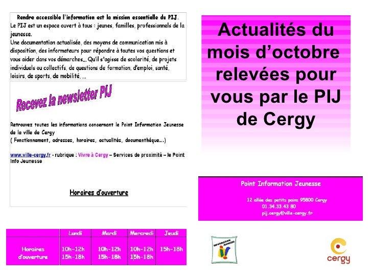 Actualités du mois de novembre relevées pour vous par le PIJ de Cergy