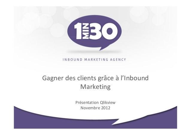 Gagner des clients grâce à l'Inbound            Marketing           Présentation Qlikview              Novembre 2012