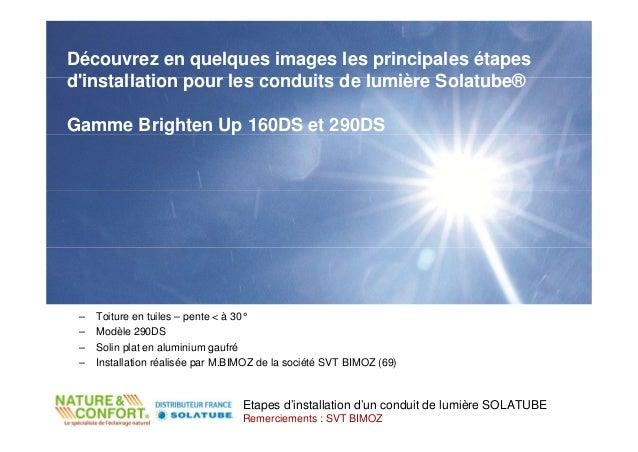 Découvrez en quelques images les principales étapesdinstallation pour les conduits de lumière Solatube®Gamme Brighten Up 1...