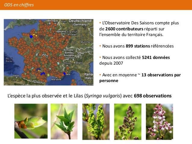 ODS en chiffres                                            • L'Observatoire Des Saisons compte plus                       ...