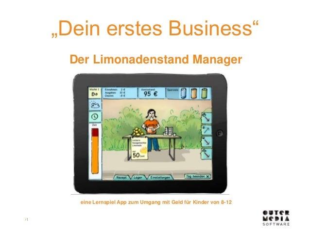 """›1  """"Dein erstes Business""""  Der Limonadenstand Manager  eine Lernspiel App zum Umgang mit Geld für Kinder von 8-12"""