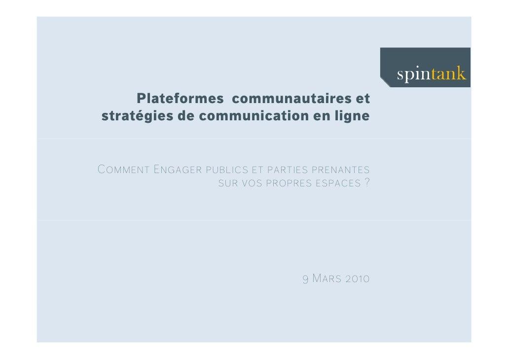 Plateformes communautaires et stratégies de communication en ligne   Comment Engager publics et parties prenantes         ...