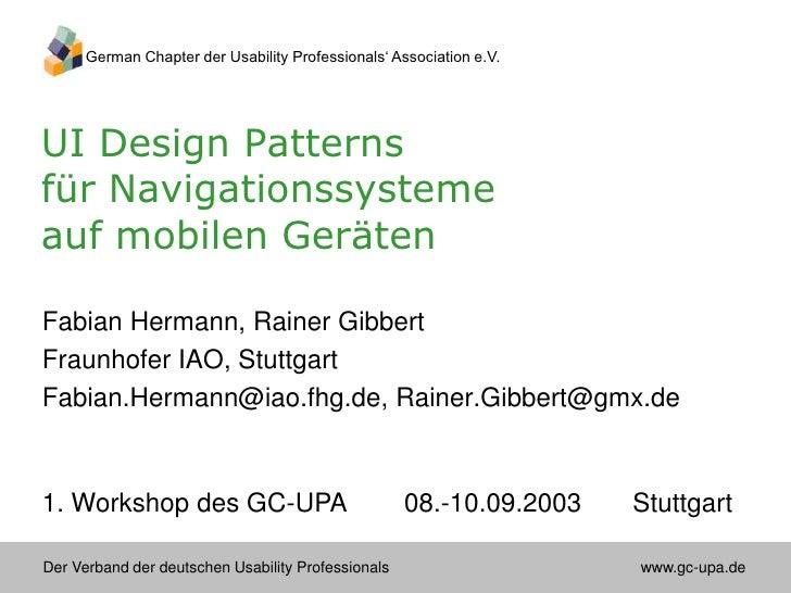UI Design Patterns für Navigationssysteme auf mobilen Geräten
