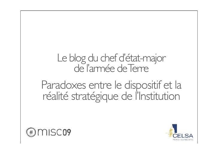 Le blog du chef d'état-major         de l'armée deTerre Paradoxes entre le dispositif et la réalité stratégique de l'Insti...