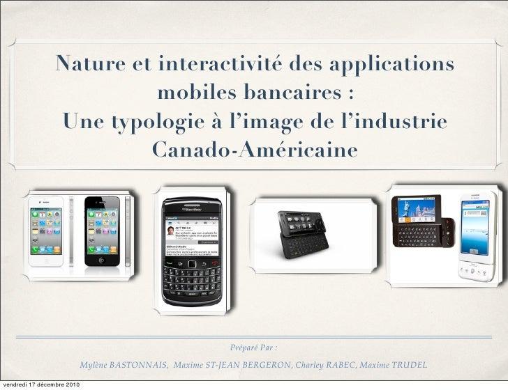 Nature et interactivité des applications                          mobiles bancaires:                Une typologie à l'ima...