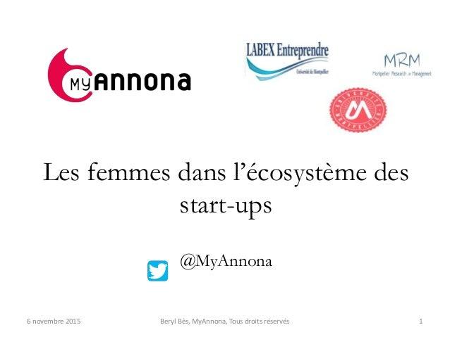 Les femmes dans l'écosystème des start-ups @MyAnnona 16 novembre 2015 Beryl Bès, MyAnnona, Tous droits réservés
