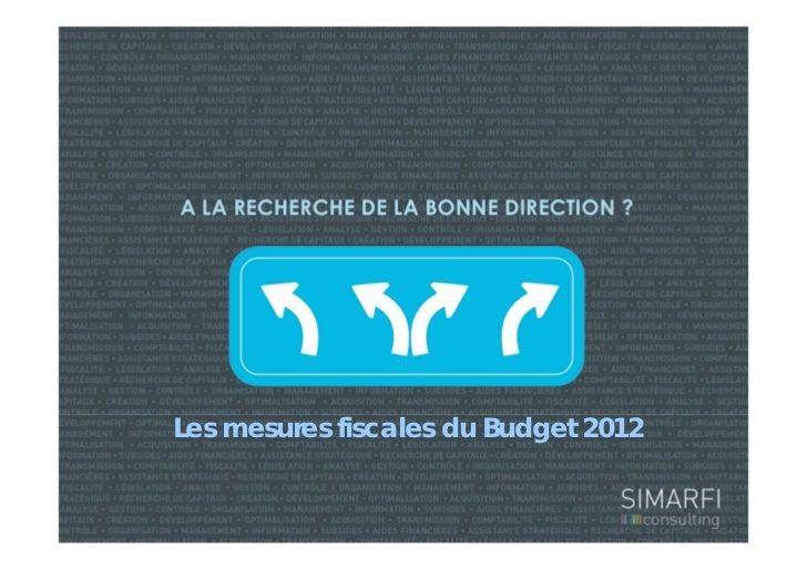 Les mesures fiscales du Budget 2012