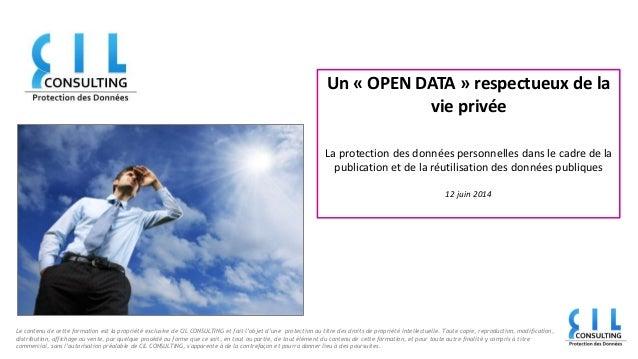 Open Data, protection des données personnelles et de la vie privée