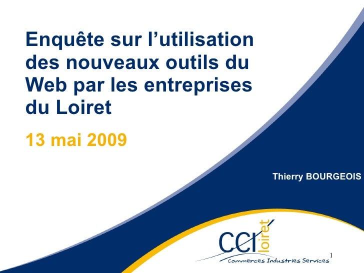 Enquête sur l'utilisation des nouveaux outils du Web par les entreprises du Loiret 13 mai 2009 13 mai 2009 Enquête su l'ut...