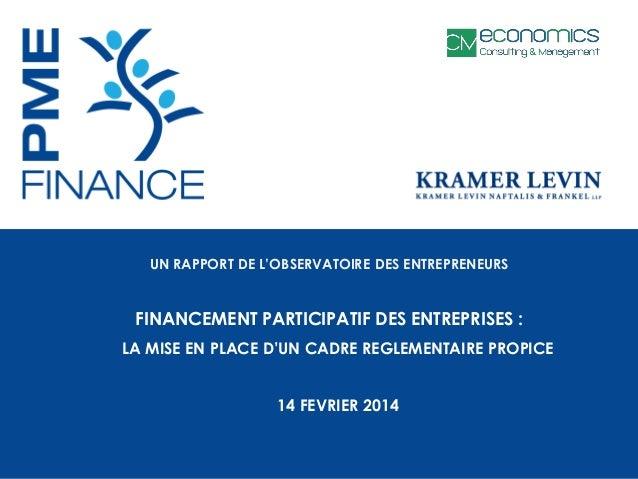 UN RAPPORT DE L'OBSERVATOIRE DES ENTREPRENEURS  FINANCEMENT PARTICIPATIF DES ENTREPRISES : LA MISE EN PLACE D'UN CADRE REG...