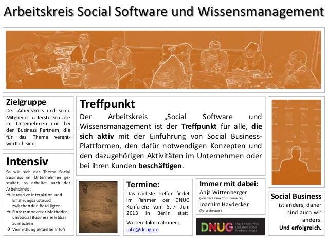 Arbeitskreis Social Software und WissensmanagementZielgruppeDer Arbeitskreis und seineMitglieder unterstützen alleim Unter...