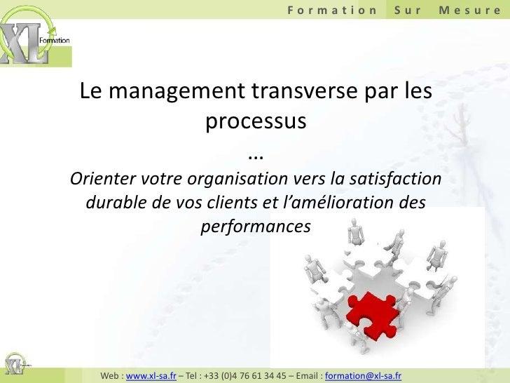 Le management transverse par les processus …Orienter votre organisation vers la satisfaction durable de vos clients et l'a...