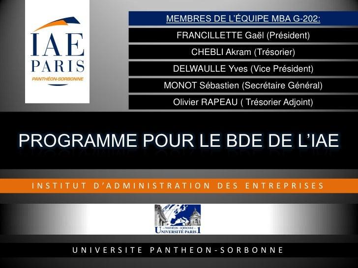 MEMBRES DE L'ÉQUIPE MBA G-202:                                      FRANCILLETTE Gaël (Président)                         ...