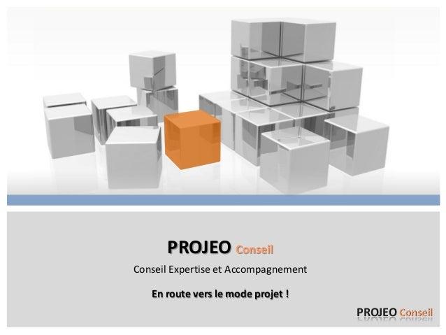 PROJEO Conseil Conseil Expertise et Accompagnement En route vers le mode projet !  PROJEO Conseil