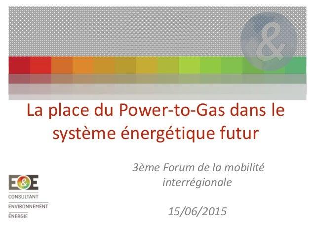 La place du Power-to-Gas dans le système énergétique futur 3ème Forum de la mobilité interrégionale 15/06/2015