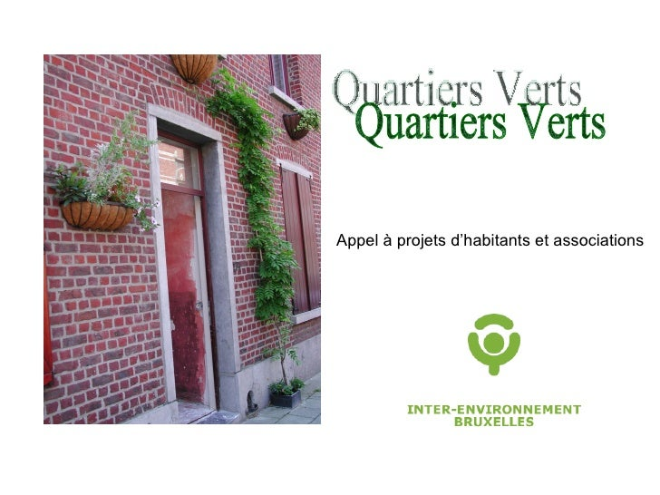 Appel à projets d'habitants et associations Quartiers Verts