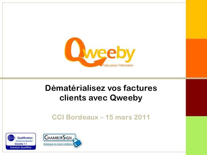 Dématérialisez vos factures clients avec Qweeby CCI Bordeaux – 15 mars 2011