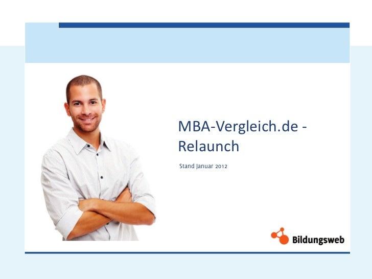 MBA-Vergleich.de -RelaunchStand Januar 2012