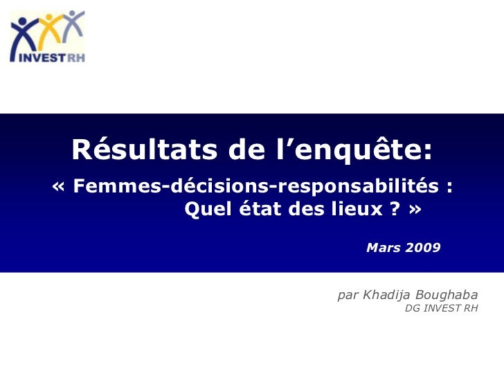 Résultats de l'enquête:« Femmes-décisions-responsabilités :          Quel état des lieux ? »                             M...