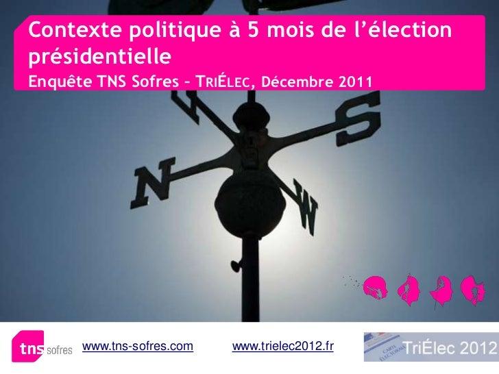 Contexte politique à 5 mois de l'électionprésidentielleEnquête TNS Sofres – TRIÉLEC, Décembre 2011      www.tns-sofres.com...