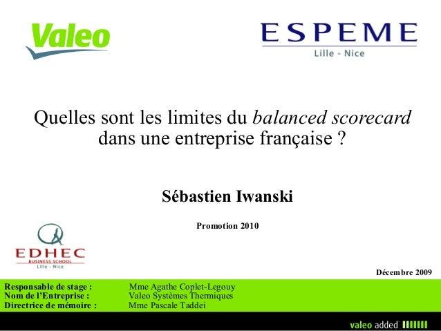Quelles sont les limites du balanced scorecard               dans une entreprise française ?                              ...