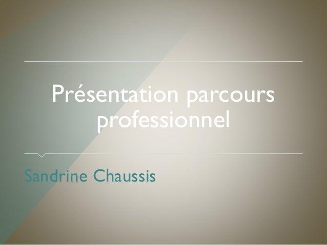 Présentation parcours professionnel Sandrine Chaussis