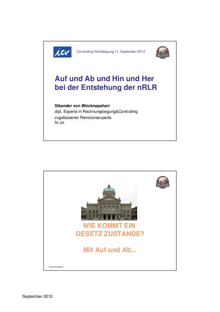 Controlling-Herbsttagung 11. September 2012                  Auf und Ab und Hin und Her                  bei der Entstehun...