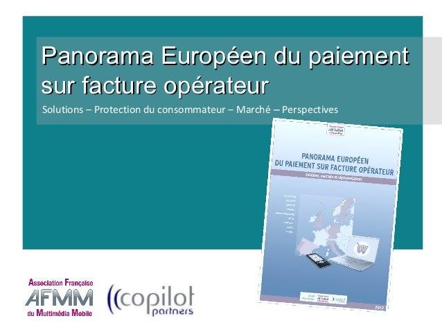 1er Benchmark Européen du paiement sur facture opérateur