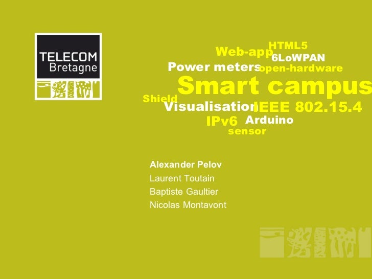 HTML5          Web-app6LoWPAN    Power metersopen-hardwareShield      Smart campus               IEEE 802.15.4   Visualisa...