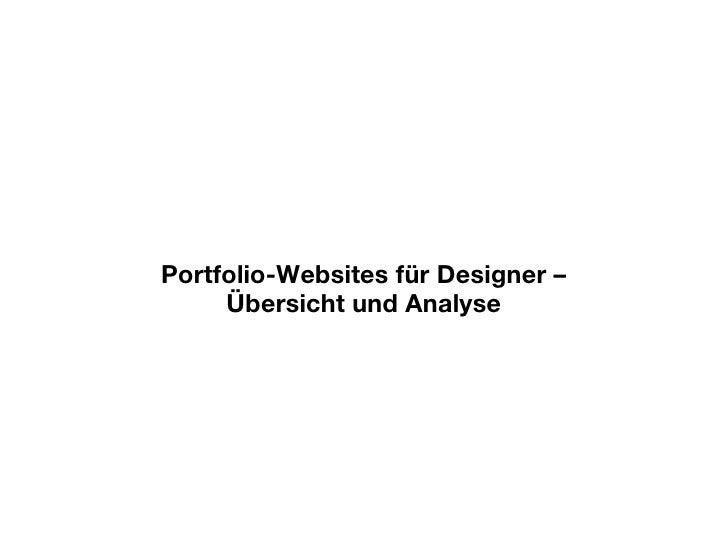 Portfolio-Websites für Designer – Übersicht und Analyse