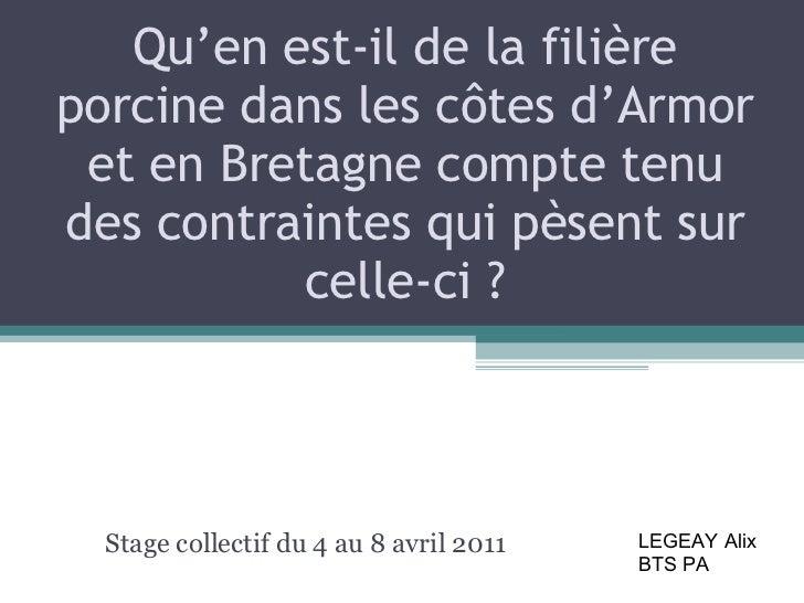 Qu'en est-il de la filière porcine dans les côtes d'Armor et en Bretagne compte tenu des contraintes qui pèsent sur celle-...