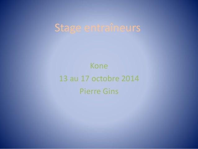 Stage entraîneurs Kone 13 au 17 octobre 2014 Pierre Gins