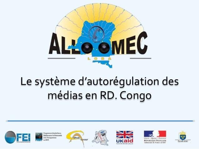 Le système d'autorégulation en RDC : Allo OMEC