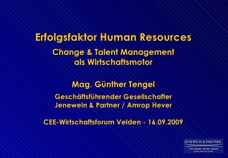 2009. Günther Tengel. Erfolgsfaktor Human Resources. CEE-Wirtschaftsforum 2009. Forum Velden.